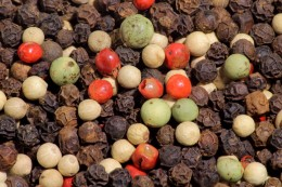The different colors of peppercorns
