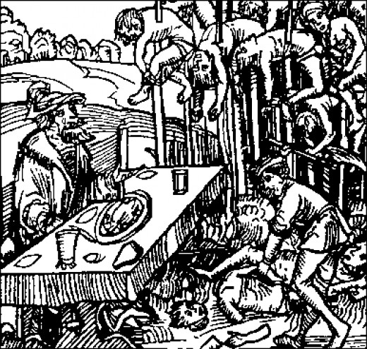 Woodcut of Vlad III the Impaler at work.