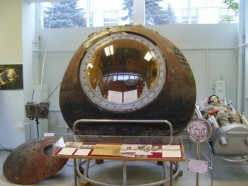 Vostok I capsule used by Yuri Gagarin in first space flight. Now on display at the RKK Energiya Museum outside of Moscow. |Source Siefkin, D.R. Date July 20, 2010 Image from Wikipedia