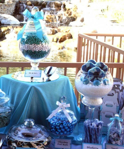Tiffany blue themed wedding candy buffet See all 3 photos