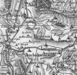 19th century map of Lourdes and Lourdes East, by Cassini
