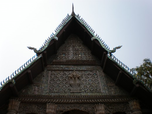 Facade of Wat Tham (Top of Phu Si), Luang Prabang, Laos.