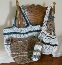 Various sized bags crocheted from recycled plastic grocery bags make a great bag for the beach.