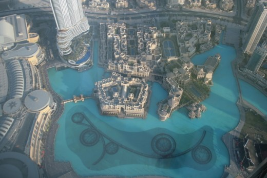View of the fountains from the Burj Khalifa viewing deck
