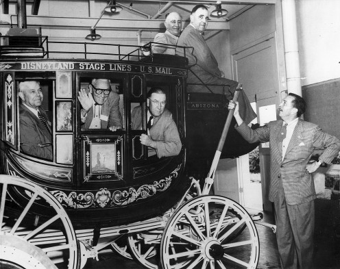 Uncle Walt shows off his stagecoach to Orange County officials in this promotional picture. Photo courtesy Orange County Archives. CC lic:  http://bit.ly/wmgij