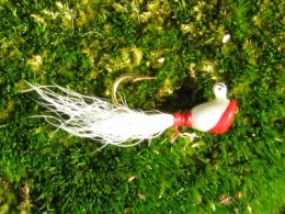 a classic red and white shad dart