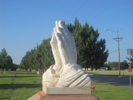 Praying hands at Resthaven Memorial Park in Lubbock,TX