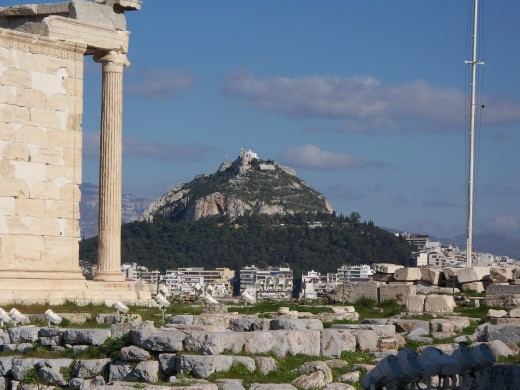 The Erecthion and Lykavittos Hill, Athens, Greece