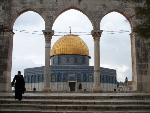 The Dome of the Rock, framed by three archways, Jerusalem