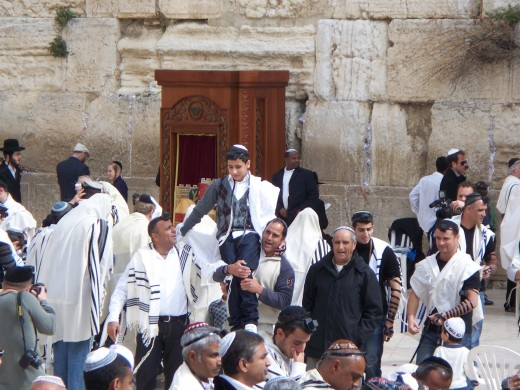 Celebrants near the Western Wall, Jerusalem