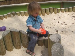 Sandpit for the little ones - all buckets and spades are provided