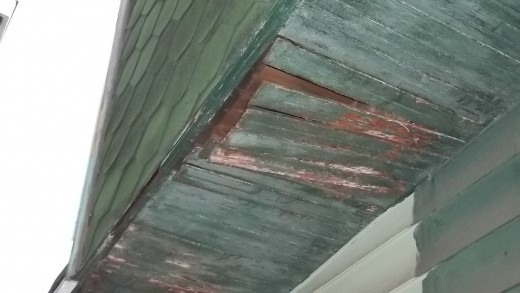 Floor of upstairs over back porch falling down