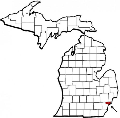 Map location of Detroit, Michigan