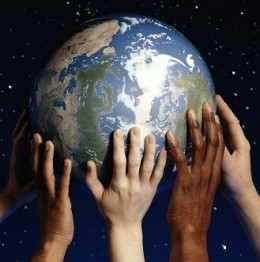 This picture from the University at Buffalo Libraries, Earth Day 2010, represents how the health of planet Earth depends on us--as much as we depend on the planet to survive.