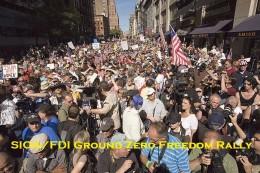Citizens protest ground zero mosque.