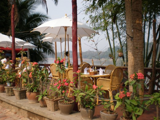 One of many Restaurants alongside the Mekong River,  Luang Prabang, Laos.
