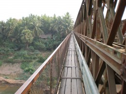 Bridge that crosses over the Nam Khan River, Luang Prabang, Laos.