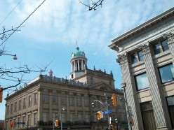 St Lawrence Hall (left) and the Canadian Bank of Commerce building (right)