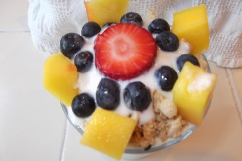 Mango-Blueberry-Strawberry Parfait