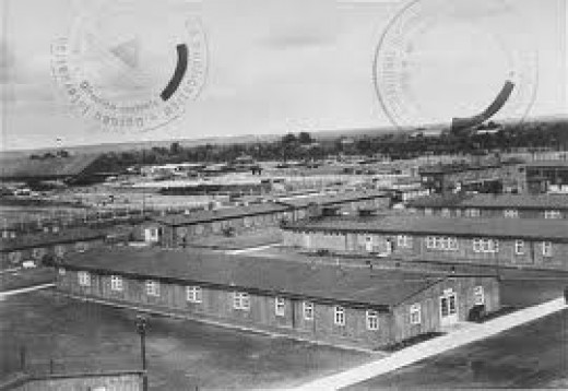 A view of a concentration camp.
