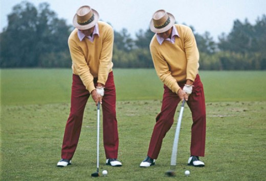 Sam Snead -  Note: The reverse 'K' in both the address and impact positions.