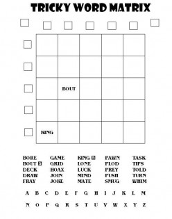 Great Word Puzzles for Tiger Moms and Their Cubs: a Tricky Word Matrix Puzzle and Solution #1