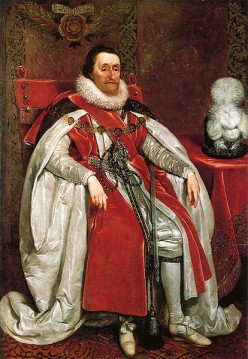 See: http://en.wikipedia.org/wiki/File:James_I_of_England_by_Daniel_Mytens.jpg