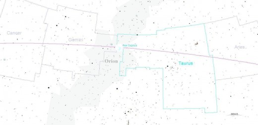For the sake of clarification, this negative of the first photo in the column has been added to show the relationship of the Mayan center of the cosmos is in relation to the signs of Gemini and Taurus. Note the moon's location!