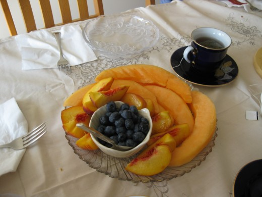 A nutritious brunch included fresh fruit.