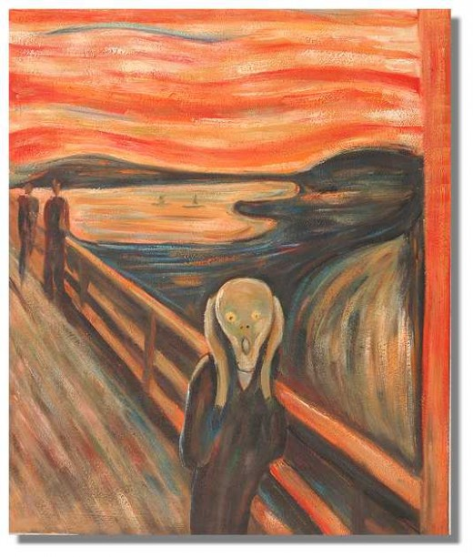 Psychosis can become a symptom that arises out of a constant state of fear, Anxiety can be another driver as can alienation. Note the shadowy and suggestive characters in the background.
