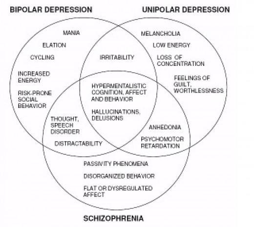 Psychosis is a complex condition according to this Venn diagram that links it to other mental conditions.