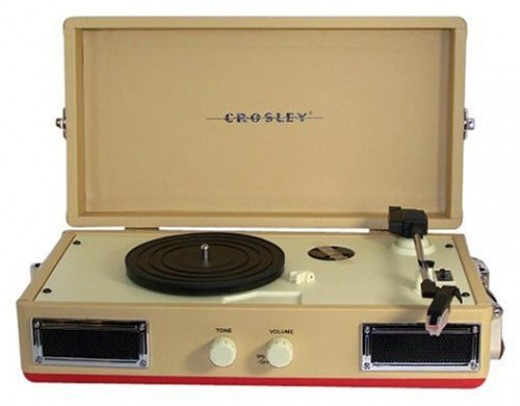 Crosley CR40, 1960s style portable turntable in creamy light tan