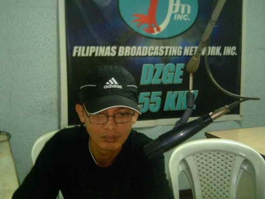 Travel Man recording a program intro/extro last February 11, 2011 @ the local radio station in Camarines Sur, Philippines