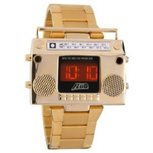 Flud Men's BBX005 Boombox Gold Retro LED Digital Watch