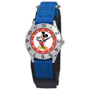 Disney Kids' D001S501 Mickey Mouse Time Teacher Blue Velcro Watch