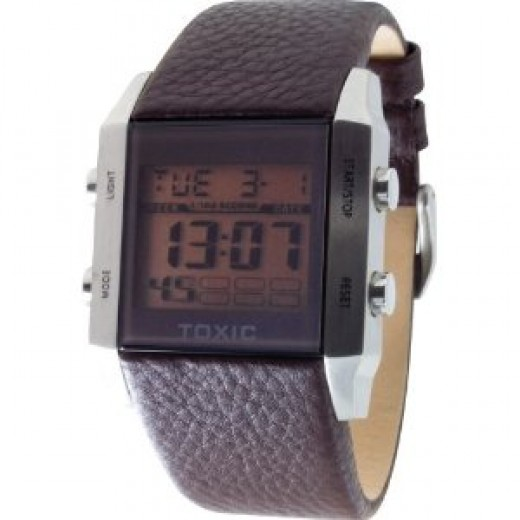 Mens Black Leather Digital Retro Watch by Toxic