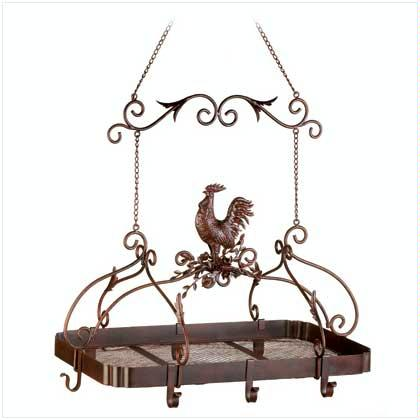 Made out of  heavy-duty iron, this charming rooster kitchen rack with its beautiful scroll work is the perfect complement for a country kitchen.