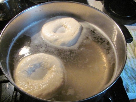 Two bagels in boiling process