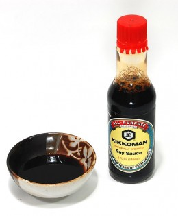 Kikoman Japanese soy sauce - Can be used for soy sauce recipe ingredient or as a condiment.  Kikoman soy sauce are sold in many grocery stores.