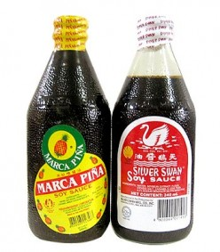 "Philippine Soy Sauce- In the Philippines, soy sauce is called ""toyo,"" made from soybeans, wheat, salt, and caramel, tastes milder than other soy sauce - Soy Sauce recipe ingredient and condiment"