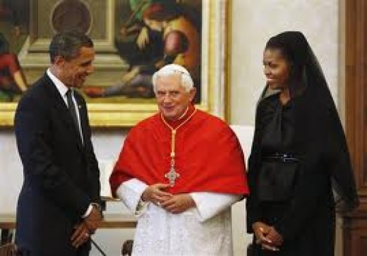 Barack and Michelle Obama meeting with the Pope