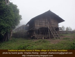wooden house of Hatam tribe in Kwau village of Arfak mountains