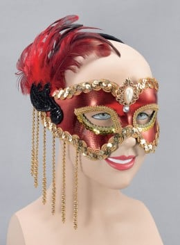 Red Beaded Eye Mask
