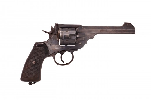 Webley & Scott Mk VI. Caliber .455 pistol which was the standard British Officers side-arm of the war