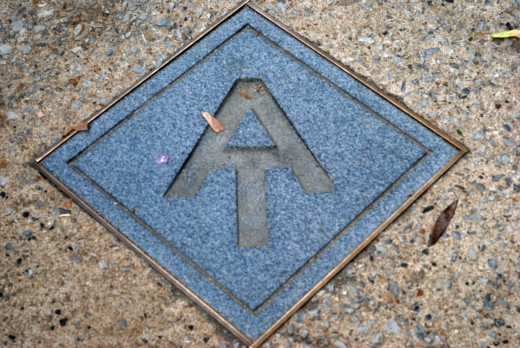 Appalachian Trail marker in sidewalk