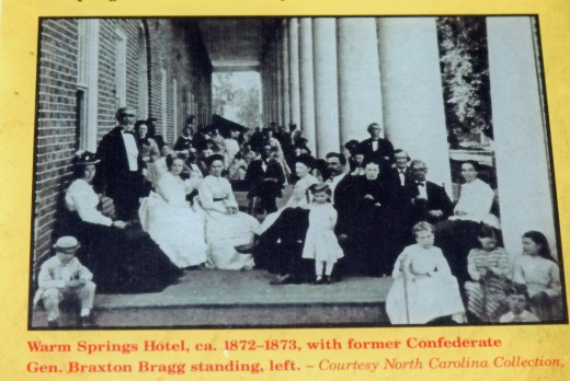 Group at an early hotel near the hot springs which is now in ruins.