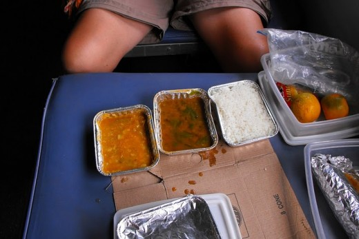 Plain rice, pulses, and curry served in Northern Indian Railways - This pic was shot while traveling from Amritsar to Delhi.