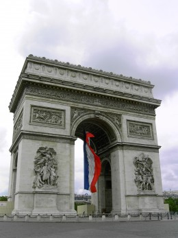 The Arc de Triomphe with the French flag flying