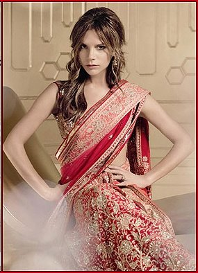 Victoria Becham in a sari