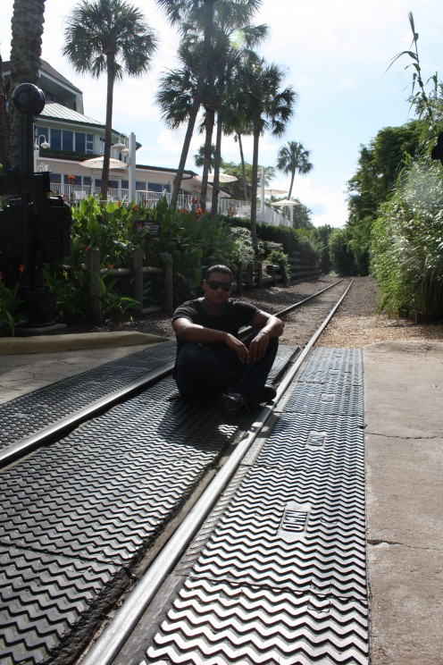Me, sitting in the little train's path.